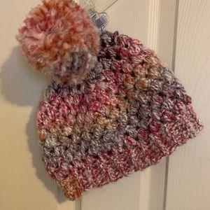 Pom Pom Multi-colored Knit Hat